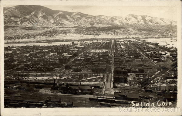 Air View over Town Salida Colorado