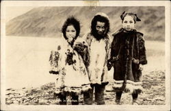 Alaska native children in parkas Postcard