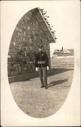 Soldier in front of Kit Carson's Home