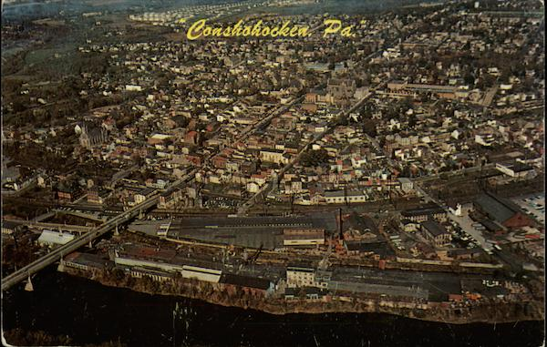 Aerial View of Conshohocken, Pa Pennsylvania Herbert Lanks