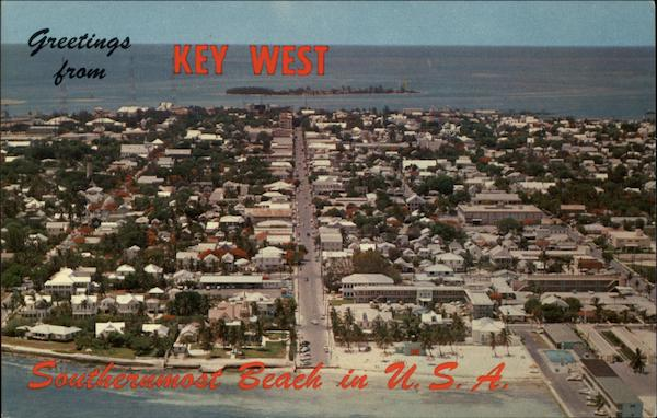 Air View of Key West, Southernmost Beach in U. S. A Florida