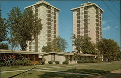 Twin Towers Highrise Apartments Postcard