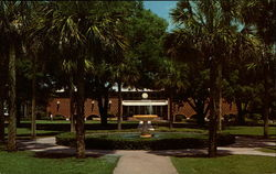duPont-Ball Library showing Haller Fountain, Stetson University