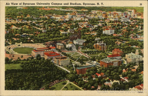 Air View of Syracuse Campus and and Stadium New York