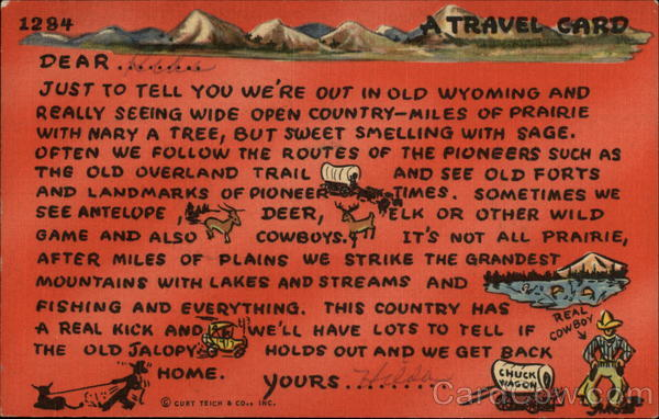 Travel Card Cowboy Western