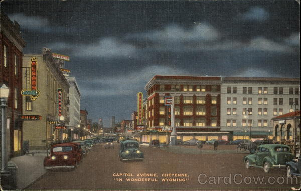 Night View of Capitol Avenue Cheyenne Wyoming