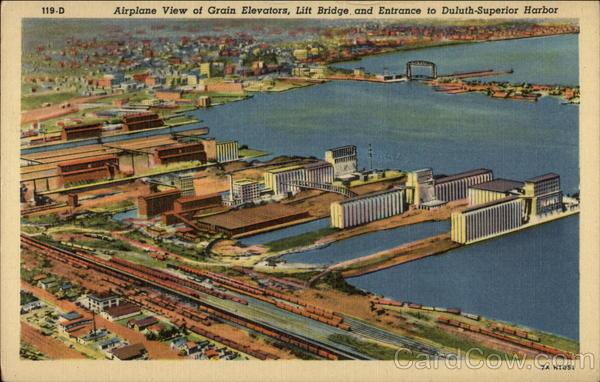 Airplane View of Grain Elevators, Lift Bridge and Entrance to Duluth-Superior Harbor Minnesota