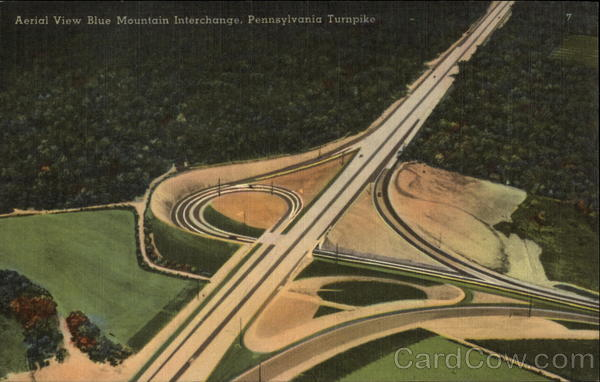 Aerial view Blue Mountain Interchange Cars