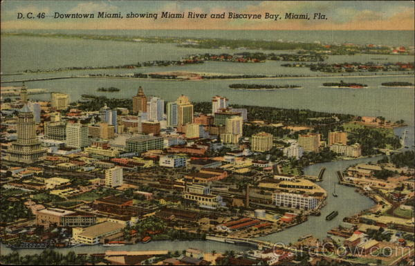 Downtown showing Miami River and Biscayne Bay Florida