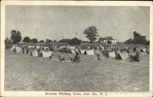 Recruits Pitching Tents Fort Dix New Jersey Post Photographer, Fort Dix, N.J