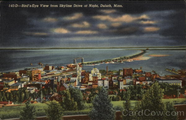 Bird's Eye View from Skyline Drive at Night Duluth Minnesota