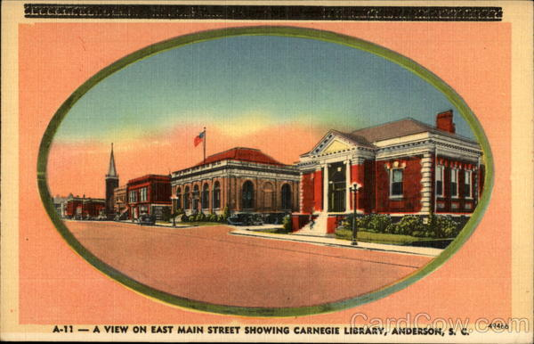 A view on East Main Street showing Carnegie Library Anderson South Carolina