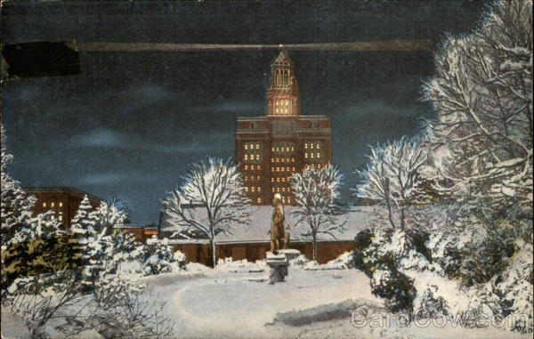 Mayo Clinic on a snowy evening Rochester Minnesota
