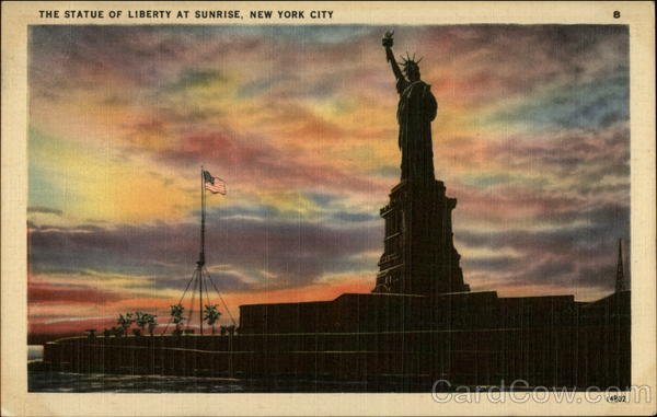 The Statue of Liberty at sunrise New York City