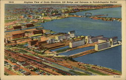 Airplane View of Grain Elevators, Lift Bridge and Entrance to Duluth-Superior Harbor