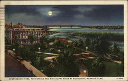 Confederate Park, Post Office & Mississippi River by Moonlight