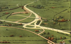 Aerial View of the Irwin Traffic Interchange and Ticket Booths, Pennsylvania Turnpike