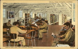 Library, Camp Livingston Postcard