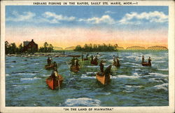 "Indians fishing in the rapids, ""In the Land of Hiawatha"""