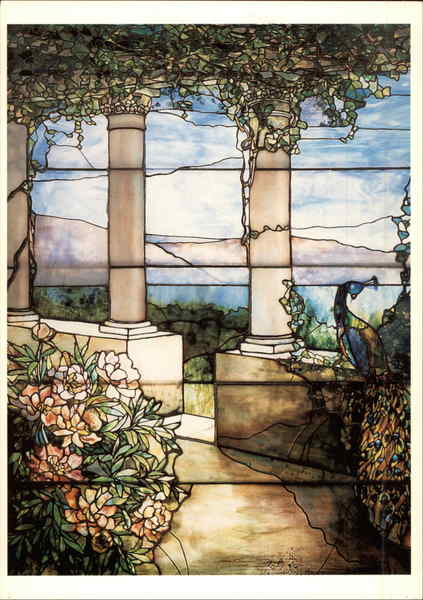 Landscape with Peacock and Peonies window c. 1900-1910