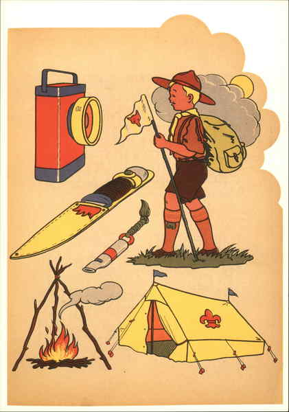 Boy Scout with Scouting Supplies Jan Lavies Modern