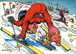 Babies skiing and causing other skiers to wreck