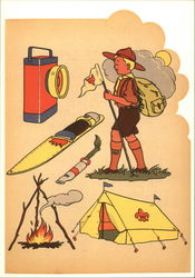 Boy Scout with Scouting Supplies