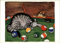 Cats playing with billiard balls