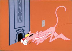 The Pink Panther Trying to See What is Going On