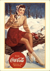 Girl Drinking Coca-Cola While Taking a Break From Outdoors Ice Skating