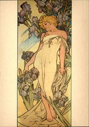 Art Deco Woman Among Iris