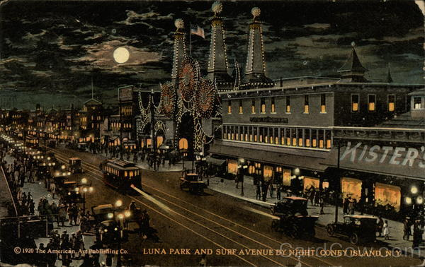 Luna Park and Surf Avenue By Night Coney Island New York