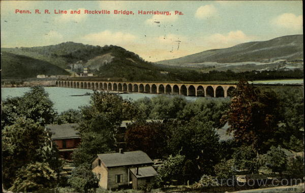 Penn. R.R. Line and Rockville Bridge Harrisburg Pennsylvania