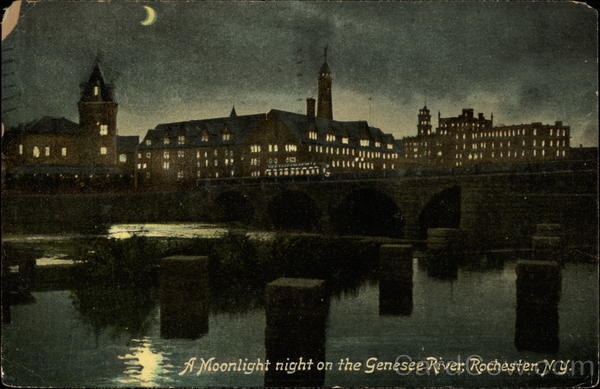 A Moonlight Night on the Genesee River Rochester New York