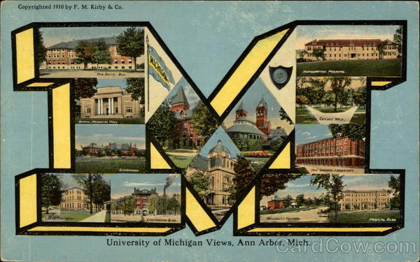 University of Michigan Views Ann Arbor Large Letter