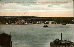 View from Riverside Drive of Palisades, Showing Edgewater and Hudson River