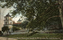 At the old Mission Towers from beneath the Old Sycamore Tree Postcard