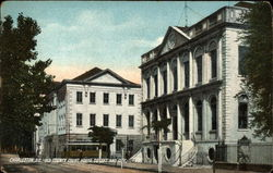 Old County Court House to Left and City Hall Postcard