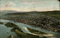 View of River and City from Table Rock Postcard