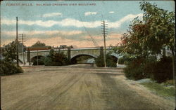 Railroad Crossing Over Boulevard Postcard