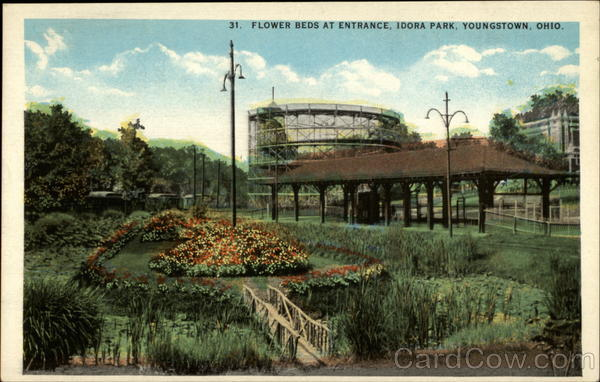 flower beds at entrance idora park youngstown oh