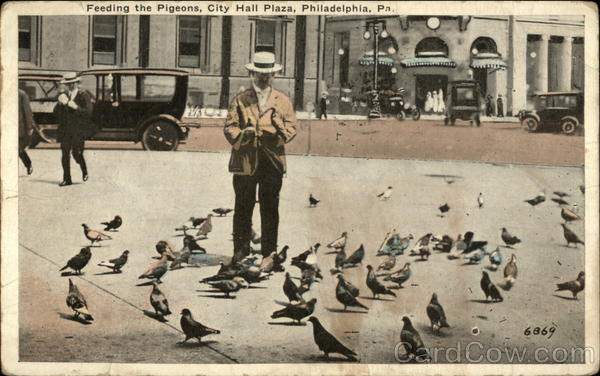 Feeding the Pigeons, City Hall Plaza Philadelphia Pennsylvania