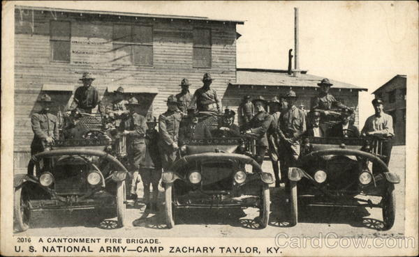 A Cantonment Fire Brigade. U. S. National Army Camp Zachary Taylor Kentucky