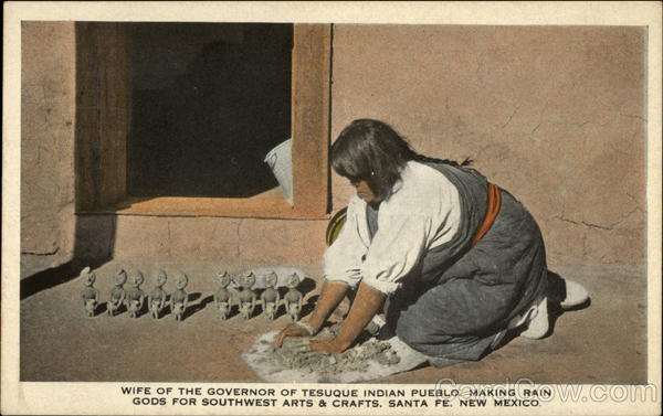 Wife of the governor of tesuque indian pueblo making rain for Southwest arts and crafts