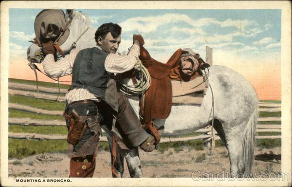 Mounting A Broncho Cowboy Western