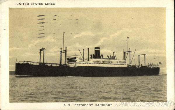 United States Lines: S.S. President Harding Boats, Ships