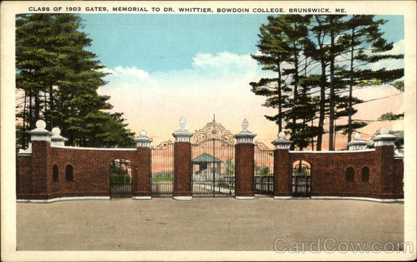 Class of 1903 Gates, Memorial to Dr. Whittier, Bowdoin College Brunswick Maine