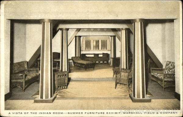 A vista of the Indian Room - summer furniture exhibit, Marshall Field & Co