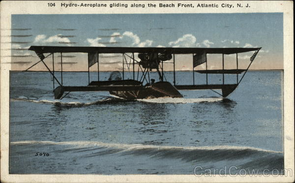 Hydro-Aeroplane gliding along the Beach Front Atlantic City New Jersey