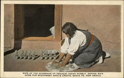 Wife of the Governor of Tesuque Indian Pueblo. Making Rain Gods for Southwest Arts & Crafts